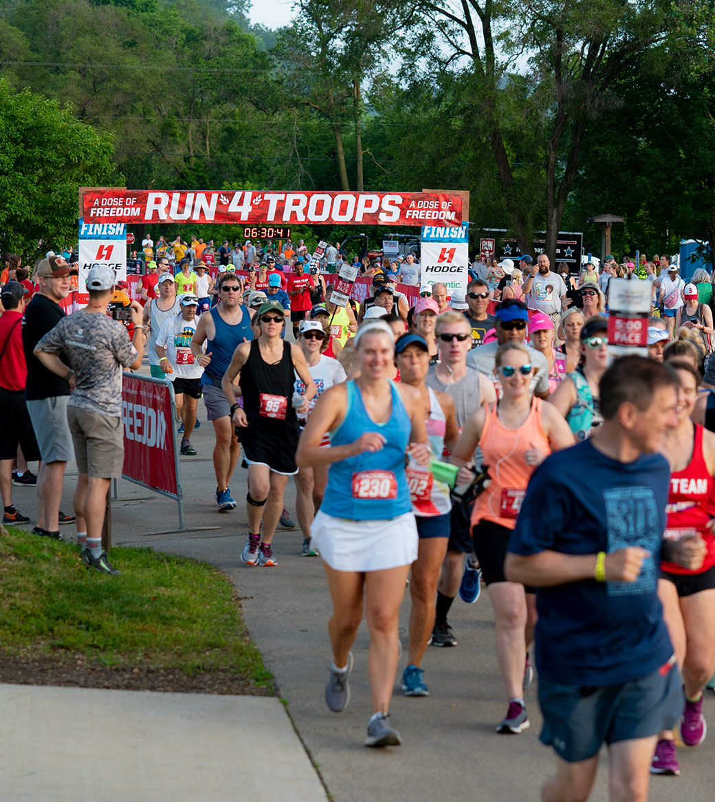 Runners at the start line at Run4Troops Marathon in Dubuque, Iowa